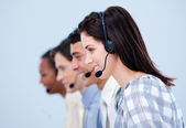Multi-ethnic customer service representatives — Stock Photo