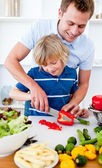 Jolly father and his son cooking — Stock Photo