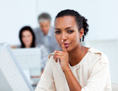 Confident businesswoman asking for silence — Foto Stock