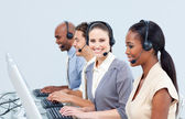 Assertive customer service representatives in a call-center — Stock Photo