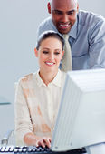 Attractive businesswoman and her manager working at a computer — Stock Photo