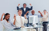 Victorious business team celebrating a success — Stock Photo