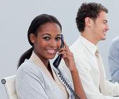 Young ethnic woman on phone — Stock Photo