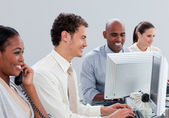 Fortunate business group working hard in the office — Stock Photo