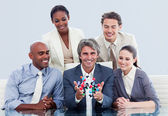 Victorious business team talking about innovation — Stock Photo