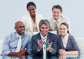 Animated business team showing a molecule — Stock Photo