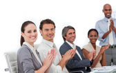 Confident business clapping a good presentation — Stock Photo