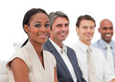 Happy Multi-ethnic business group at a presentation — Stock Photo