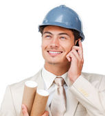 Assertive young architect on phone — Stock Photo