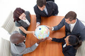 High Angle of business holding a globe. Global business — Stock Photo