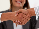 Close-up of successful businessmen closing a deal — Stock Photo