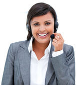 Portrait of an afro-american customer agent at work — Stock Photo