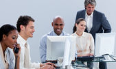 Assertive business team working in the office — Foto Stock