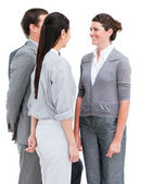 Smiling business interacting standing — Stock Photo