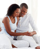 Afro-american couple finding out results of a pregnancy test — Stock Photo