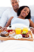Focus on a breakfast tray — Stock Photo