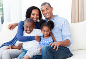 Portrait of a Smiling Afro-american family — Stock Photo