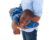 Close-up of a little boy having fun with his father — Stock Photo