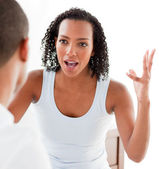 Close-up of an Afro-americam couple having an argument — Stock Photo