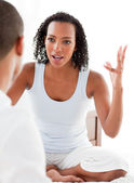 Close-up of an angry couple having an argument — Stock Photo