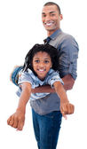 Afro-American father playing woth his son — Stock Photo