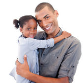 Afro-American father holding her little daughter — Stock Photo