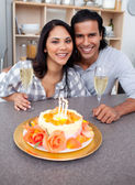 Enamoured couple celebrating — Stock Photo