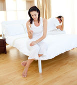 Cheerless couple finding out results of a pregnancy test — Stock Photo