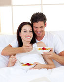 Romantic couple having breakfast — Stock Photo