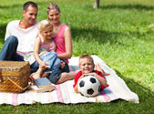 Happy parents and children picnicing in the park — Stock Photo