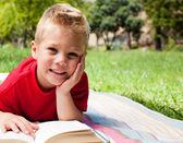 Lindo niño leyendo en un picnic — Foto de Stock