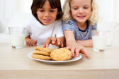 Adorable siblings eating biscuits — Stock Photo