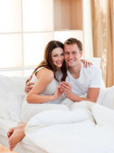 Romantic couple finding out results of a pregnancy test — Stock Photo