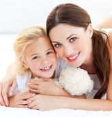 Portrait of a joyful mother and her daughter — Stock Photo