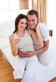 Enamoured couple finding out results of a pregnancy test — Stock Photo