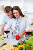Intimate couple preparing dinner — Stock Photo