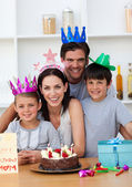 Happy Mother celebrating her birthday with her family — Stock Photo