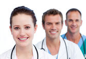 Presentation of a smiling medical team — Stock Photo