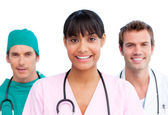 Presentation of a cheerful medical team — Stock Photo