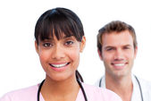 Portrait of two jolly doctors — Stock Photo