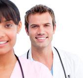 Portrait of two joyful doctors — Stock Photo