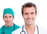 Portrait of two handsome doctors — Stock Photo