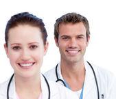 Presentation of a caucasian medical team — Stock Photo