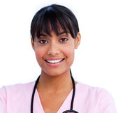 Portrait of an charming female doctor holding a stethoscope — Stock Photo