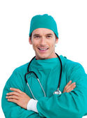 Portrait of a radiant surgeon holding a stethoscope — Stock Photo