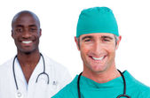 Portrait of two male doctors — Stock Photo