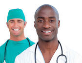 Portrait of assertive male doctors — Stock Photo