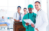 Portrait of a positive medical team at work — Stock Photo