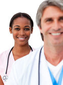 Two doctors standing in a line — Stock Photo