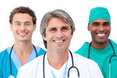 Positive doctors smiling at the camera — Stock Photo